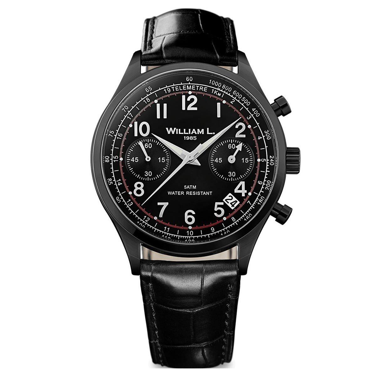 William L. 1985 WLIB01NRCN Men's Chronographs Vintage Style Black Strap Black IP Steel Watch