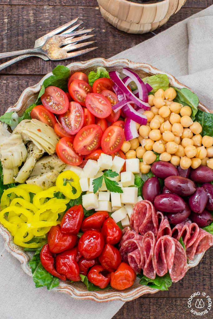 Easy Italian Antipasto Salad from Cooking on the Front Burners #RecipeRoundup #Salads #ItalianFood #CarnivoreSalads