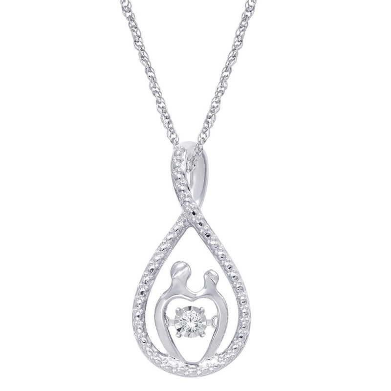 Sterling Silver 1/20 Ct.Tw. Diamond Mother And Child Pendant from MyGiftStop.com #MothersDayGift #MothersDay #GiftGuide