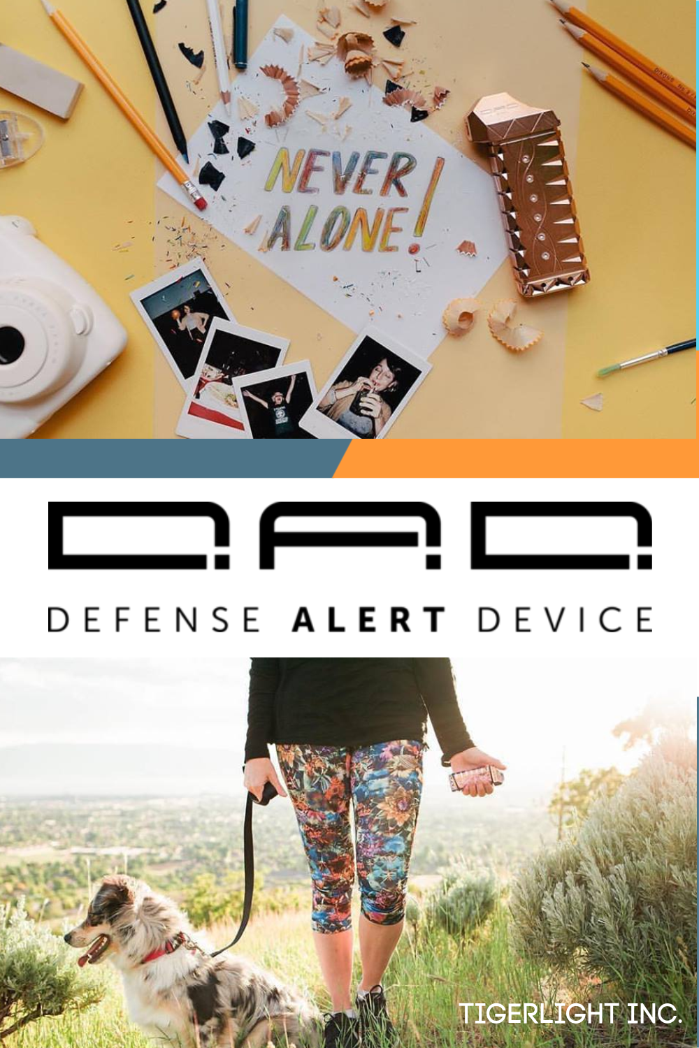 The D.A.D.® (Defense Alert Device) is the first non-lethal personal safety device with smart technology. Each device is equipped with Bluetooth to send an emergency alert via your cell phone. #Tigerlight #BeBold #NeverAlone