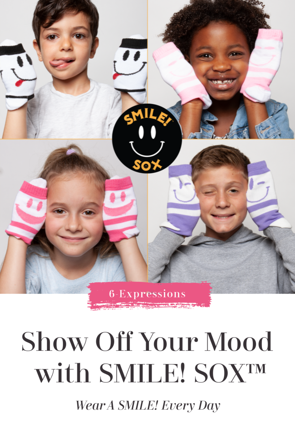 Feelin' Happy, Sad, Grumpy, Funny, Goofy or Jolly? Wear your expression with Back-To-School Special Promotion on NEW line of #SmileSox for kids, tweens & women. Wear a SMILE! every day – enjoy a 15% OFF + FREE Shipping at smilesox.com discount code: smilesox15